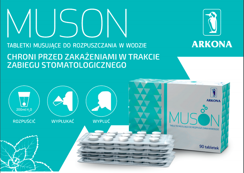 MUSON jako środek antyseptyczny do stosowania w gabinecie stomatologicznym oraz samodzielnego zastosowania w domu przez pacjenta